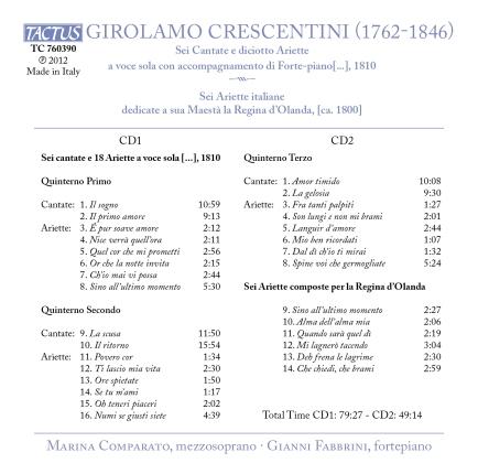 Crescentini Cantate e Ariette Tracks